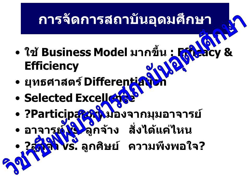การจัดการสถาบันอุดมศึกษา ใช้ Business Model มากขึ้น : Efficacy & Efficiency ยุทธศาสตร์ Differentiation Selected Excellence ?Participatory มองจากมุมอาจารย์ อาจารย์ vs.