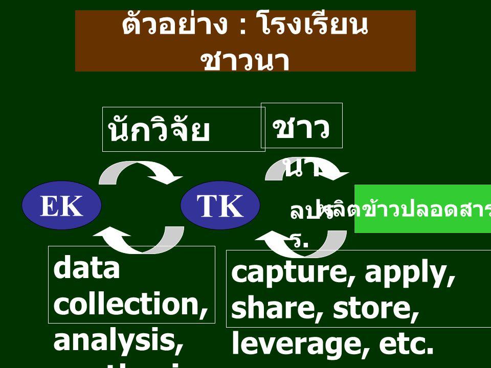 ตัวอย่าง : โรงเรียน ชาวนา EK TK ผลิตข้าวปลอดสารพิษ ลปร ร.