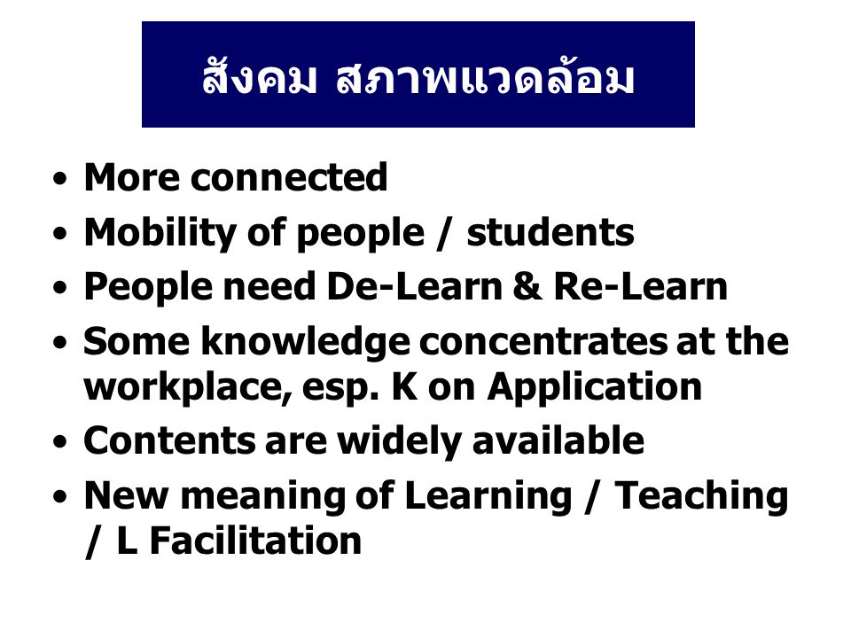 New Meaning of Learning Learning Content / What Learning Meaning & Value / Why & For What Learning How to Apply Knowledge / K Translation Learning How to Learn Learning How to Create L How to Act / Apply / Implement