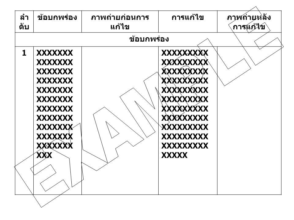 ลำ ดับ ข้อบกพร่องภาพถ่ายก่อนการ แก้ไข การแก้ไขภาพถ่ายหลัง การแก้ไข ข้อบกพร่อง 1XXXXXXX XXXXXXX XXXXXXX XXXXXXX XXXXXXX XXXXXXX XXXXXXX XXXXXXX XXXXXXX