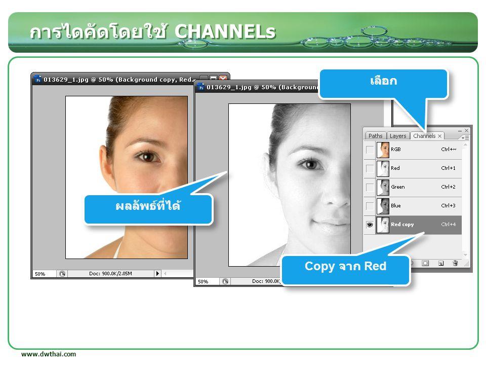 การไดคัดโดยใช้ CHANNELs www.dwthai.com เลือก Copy จาก Red ผลลัพธ์ที่ได้