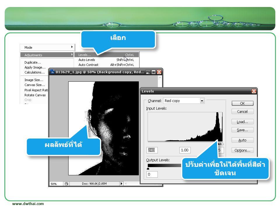 www.dwthai.com เลือก ปรับค่าสี นำไประบายส่วนที่เป็นสีดำ ปรับค่าสี ระบายส่วนที่เป็นสีขาว