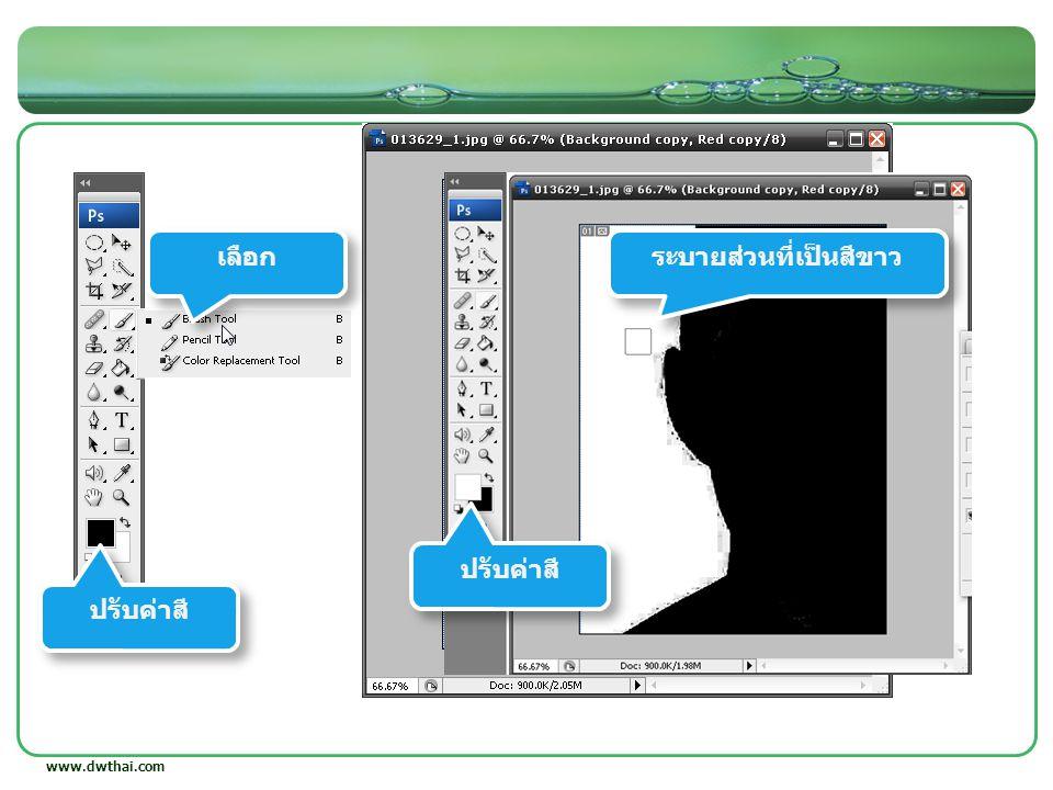 www.dwthai.com กด Ctrl ค้างแล้วคลิก ได้เป็น Selection เลือก ลบพื้นที่ไม่ต้องการ
