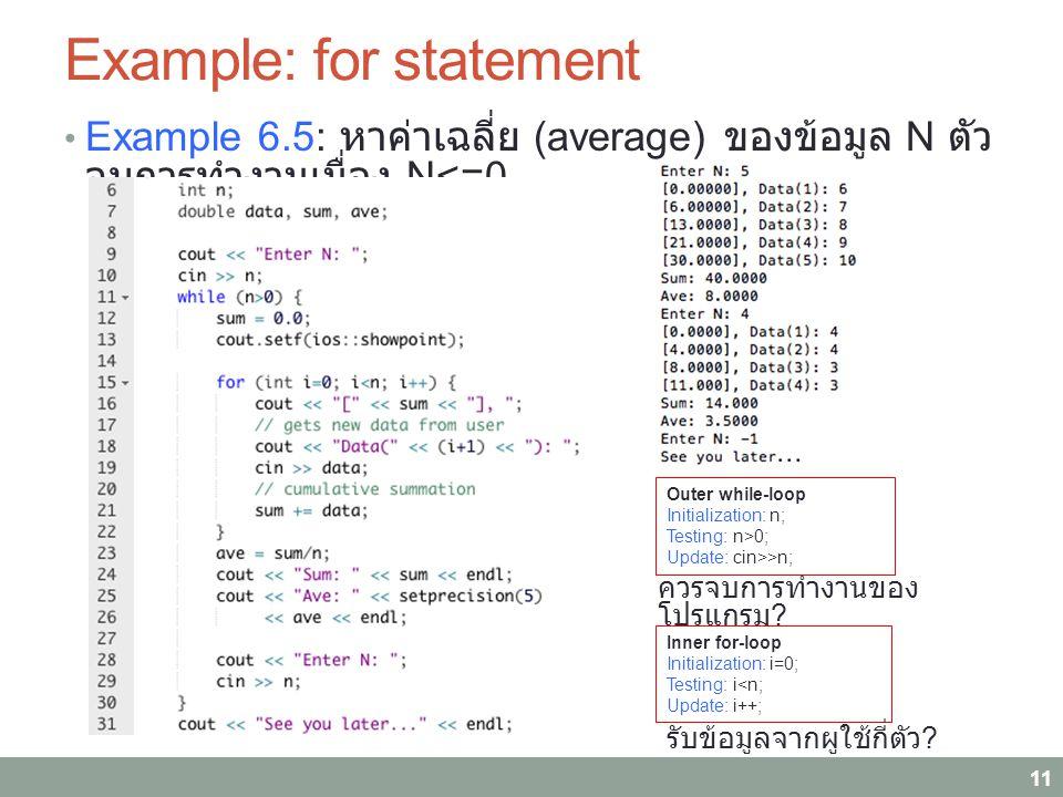 Example: for statement Example 6.5: หาค่าเฉลี่ย (average) ของข้อมูล N ตัว จบการทำงานเมื่อง N<=0 11 Outer while-loop Initialization: n; Testing: n>0; Update: cin>>n; Inner for-loop Initialization: i=0; Testing: i<n; Update: i++; ควรจบการทำงานของ โปรแกรม .