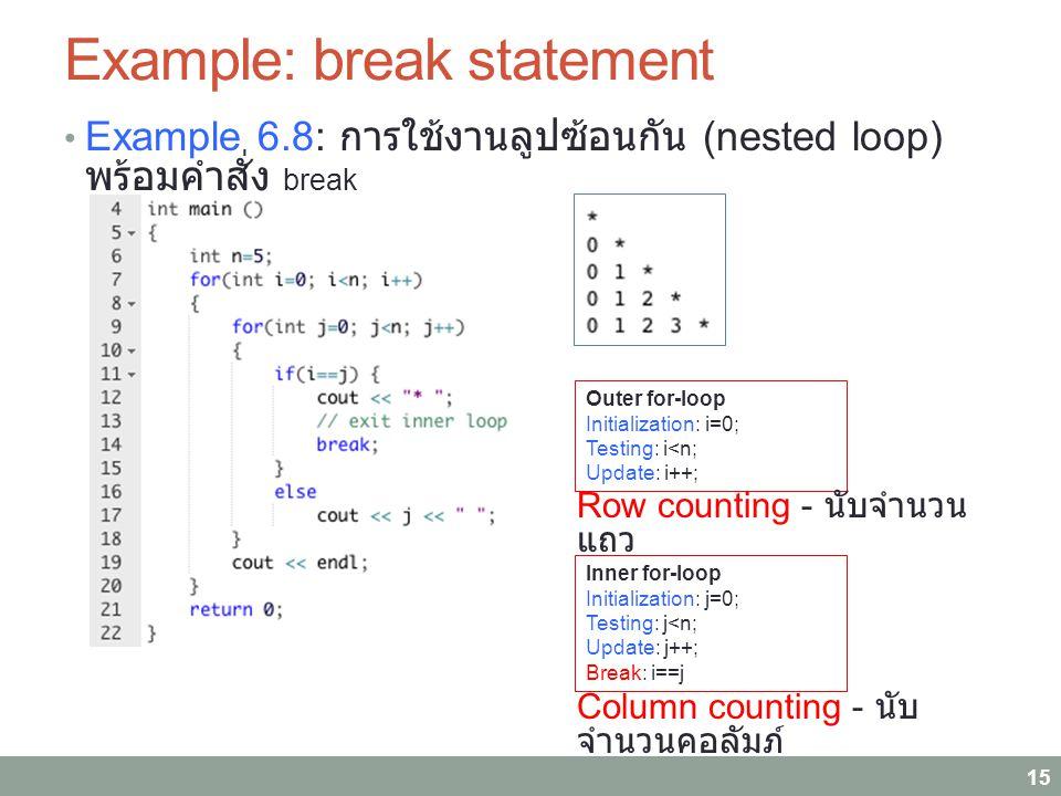 Example: break statement Example 6.8: การใช้งานลูปซ้อนกัน (nested loop) พร้อมคำสั่ง break 15 Outer for-loop Initialization: i=0; Testing: i<n; Update: i++; Inner for-loop Initialization: j=0; Testing: j<n; Update: j++; Break: i==j Row counting - นับจำนวน แถว Column counting - นับ จำนวนคอลัมภ์