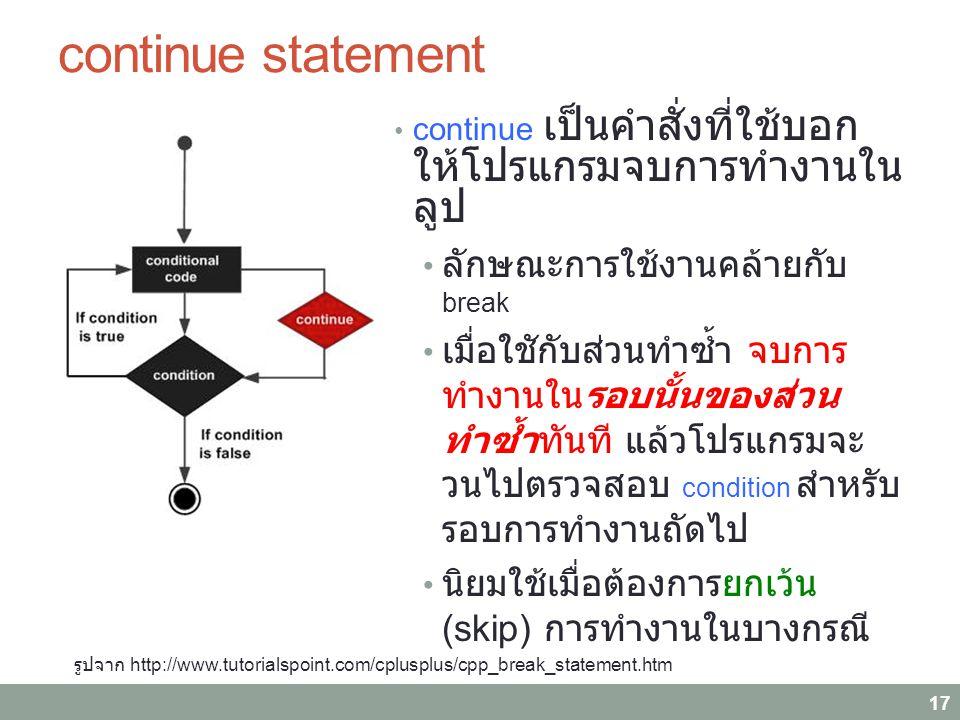 continue statement 17 continue เป็นคำสั่งที่ใช้บอก ให้โปรแกรมจบการทำงานใน ลูป ลักษณะการใช้งานคล้ายกับ break เมื่อใชักับส่วนทำซ้ำ จบการ ทำงานในรอบนั้นของส่วน ทำซ้ำทันที แล้วโปรแกรมจะ วนไปตรวจสอบ condition สำหรับ รอบการทำงานถัดไป นิยมใช้เมื่อต้องการยกเว้น (skip) การทำงานในบางกรณี รูปจาก http://www.tutorialspoint.com/cplusplus/cpp_break_statement.htm