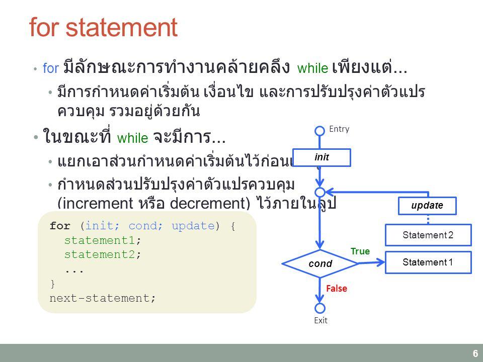 Example: for statement Example 6.1: แสดงเลข 1 ถึง N 7 Initialization: i=1; Testing: i<=n; Update: i+=1; whilefor