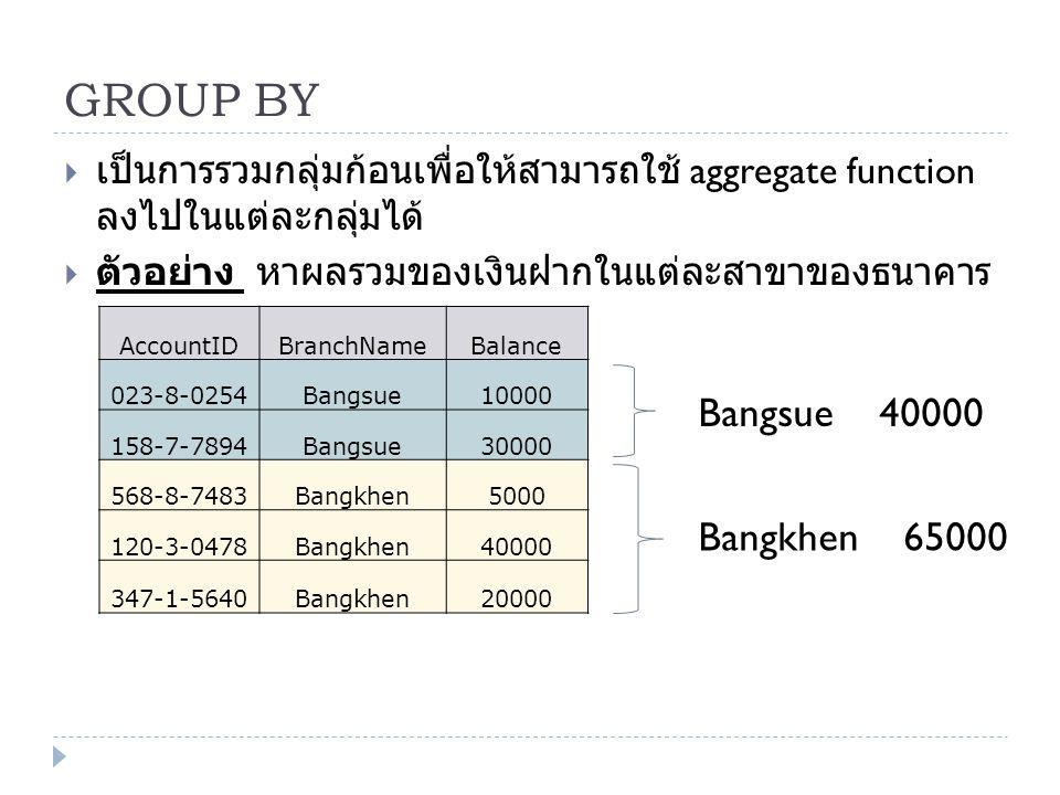 GROUP BY  เป็นการรวมกลุ่มก้อนเพื่อให้สามารถใช้ aggregate function ลงไปในแต่ละกลุ่มได้  ตัวอย่าง หาผลรวมของเงินฝากในแต่ละสาขาของธนาคาร AccountIDBranc