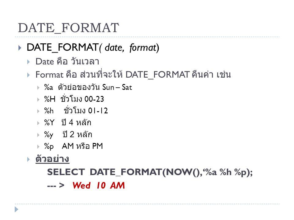 DATE_FORMAT  DATE_FORMAT( date, format)  Date คือ วันเวลา  Format คือ ส่วนที่จะให้ DATE_FORMAT คืนค่า เช่น  %a ตัวย่อของวัน Sun – Sat  %H ชั่วโมง