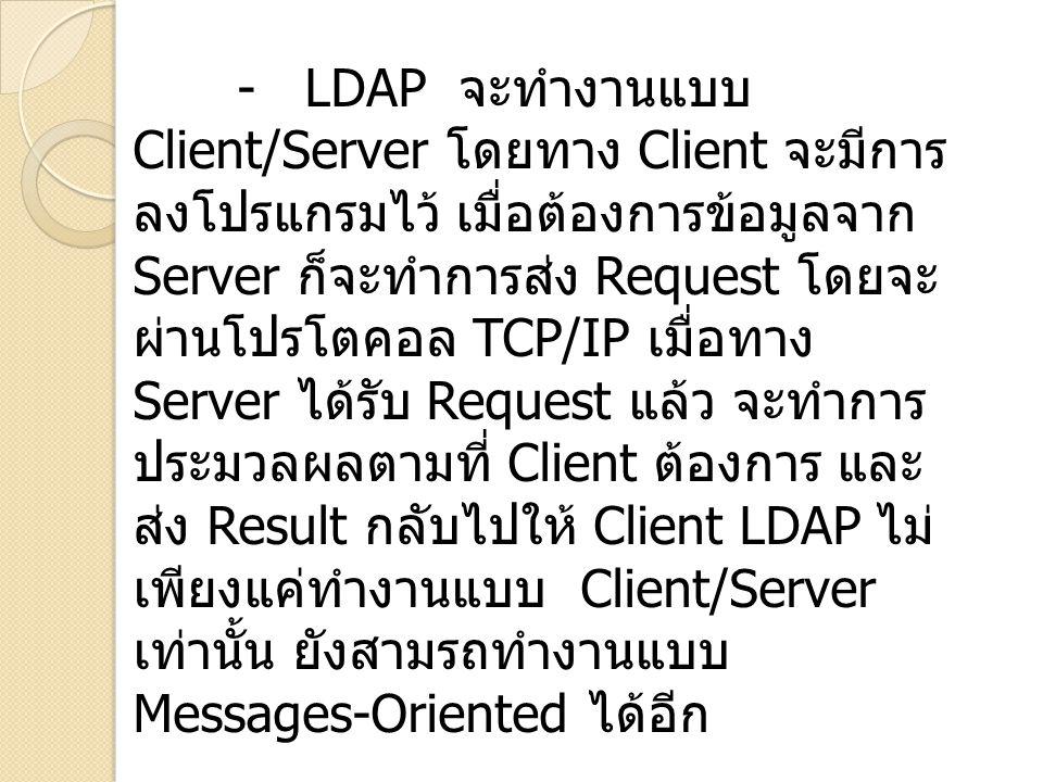 - LDAP จะทำงานแบบ Client/Server โดยทาง Client จะมีการ ลงโปรแกรมไว้ เมื่อต้องการข้อมูลจาก Server ก็จะทำการส่ง Request โดยจะ ผ่านโปรโตคอล TCP/IP เมื่อทาง Server ได้รับ Request แล้ว จะทำการ ประมวลผลตามที่ Client ต้องการ และ ส่ง Result กลับไปให้ Client LDAP ไม่ เพียงแค่ทำงานแบบ Client/Server เท่านั้น ยังสามรถทำงานแบบ Messages-Oriented ได้อีก