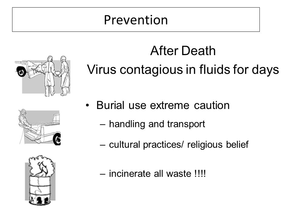 Prevention After Death Virus contagious in fluids for days Burial use extreme caution –handling and transport –cultural practices/ religious belief –i