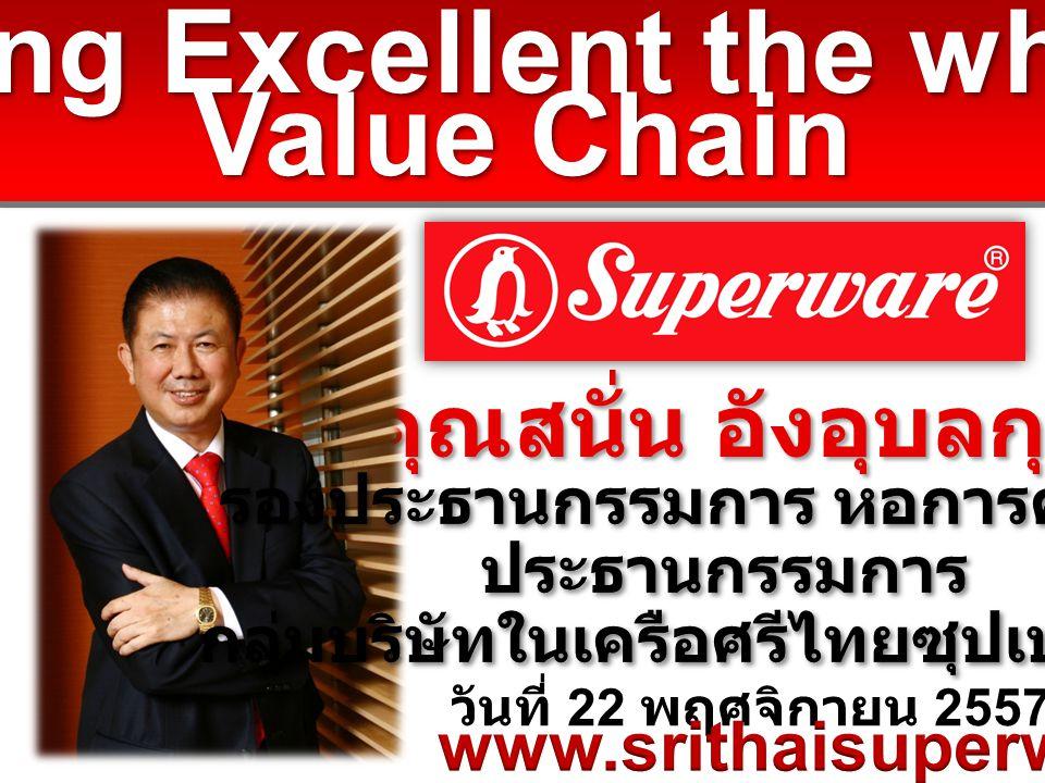 วันที่ 22 พฤศจิกายน 2557 คุณสนั่น อังอุบลกุล Being Excellent the whole Value Chain Being Excellent the whole Value Chain