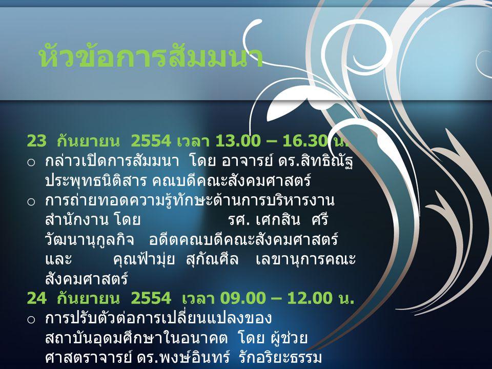 หัวข้อการสัมมนา 23 กันยายน 2554 เวลา 13.00 – 16.30 น.