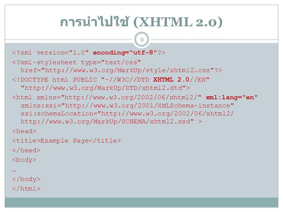 ภาพรวมโครงสร้างเอกสาร XHTML (1.0) ส่วนที่หนึ่ง (XML) ส่วนที่สอง (DOCTYPE) <!DOCTYPE html PUBLIC -//W3C//DTD XHTML 1.0 Strict//EN http://www.w3.org/TR/xhtml1/DTD/xhtml1-strict.dtd > ส่วนที่สาม ( ตัวเอกสาร ) Example Page … 10