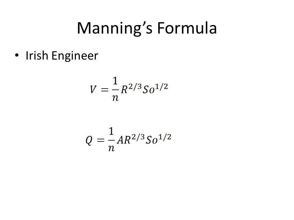 Manning's Formula Irish Engineer