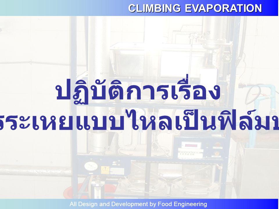 CLIMBING EVAPORATION All Design and Development by Food Engineering ปฏิบัติการเรื่อง การระเหยแบบไหลเป็นฟิล์มบาง