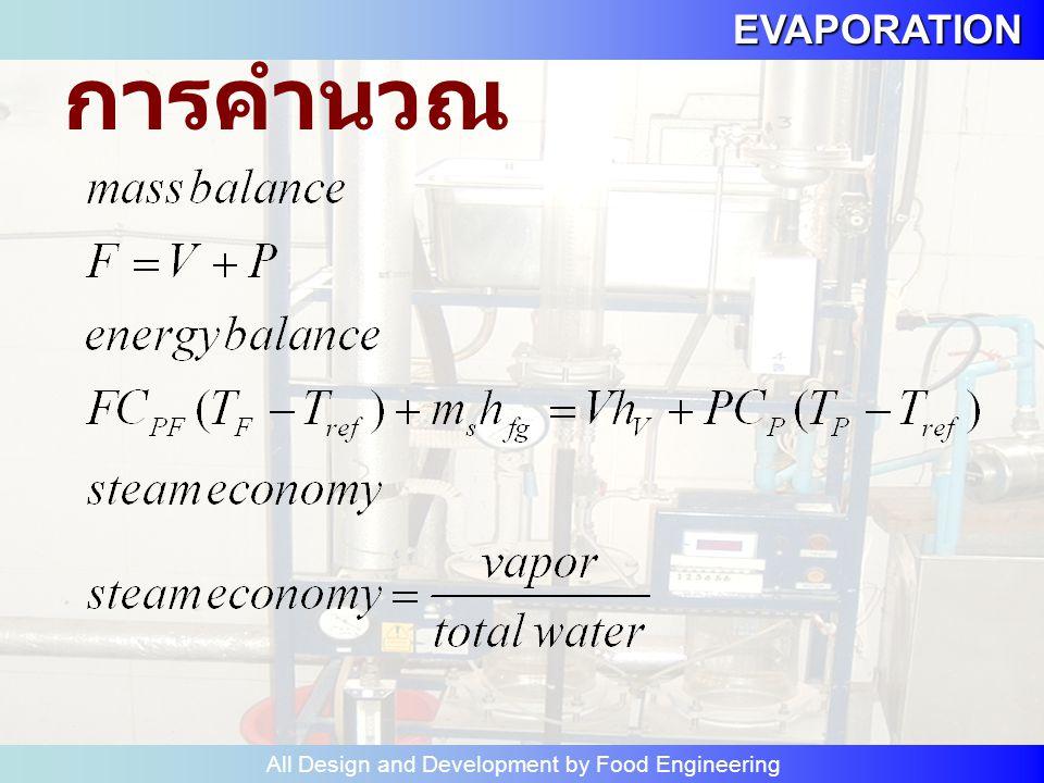 EVAPORATION All Design and Development by Food Engineering 1. คำนวณสมดุลมวลสารและ สมดุลพลังงานของระบบนี้ 2. หาปริมาณน้ำที่ระเหย ภายในเวลา 1 ชั่วโมง 3.