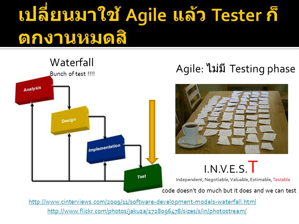http://www.cinterviews.com/2009/11/software-development-models-waterfall.html I.N.V.E.S. T Waterfall Agile: ไม่มี Testing phase http://www.flickr.com/