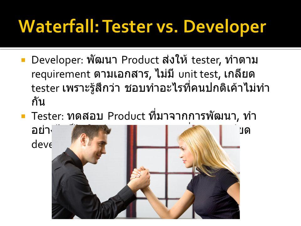  Developer: พัฒนา Product ส่งให้ tester, ทำตาม requirement ตามเอกสาร, ไม่มี unit test, เกลียด tester เพราะรู้สึกว่า ชอบทำอะไรที่คนปกติเค้าไม่ทำ กัน 