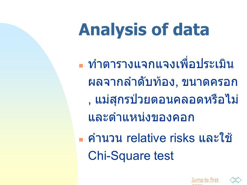 Jump to first page Analysis of data ทำตารางแจกแจงเพื่อประเมิน ผลจากลำดับท้อง, ขนาดครอก, แม่สุกรป่วยตอนคลอดหรือไม่ และตำแหน่งของคอก คำนวน relative risk