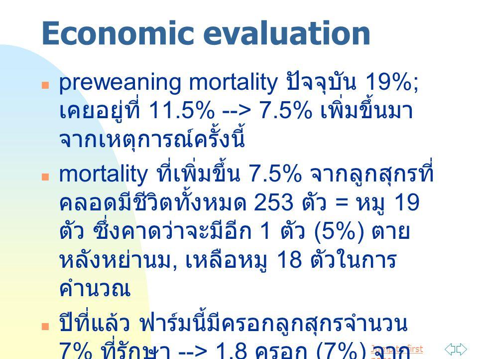 Jump to first page Economic evaluation preweaning mortality ปัจจุบัน 19%; เคยอยู่ที่ 11.5% --> 7.5% เพิ่มขึ้นมา จากเหตุการณ์ครั้งนี้ mortality ที่เพิ่