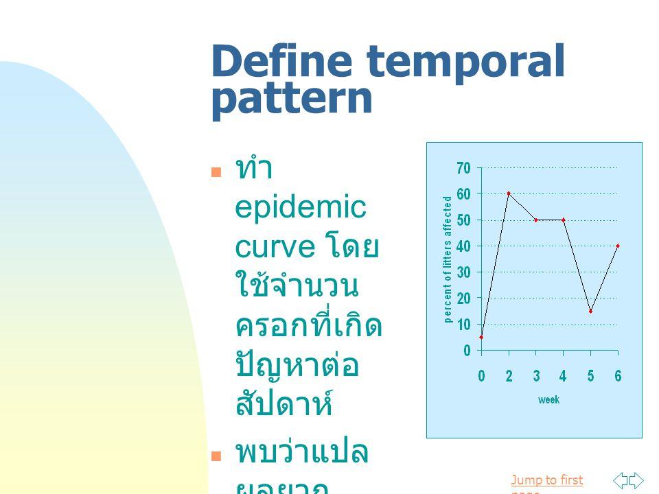 Jump to first page Define temporal pattern ทำ epidemic curve โดย ใช้จำนวน ครอกที่เกิด ปัญหาต่อ สัปดาห์ พบว่าแปล ผลยาก เนื่องจาก จำนวนน้อย เกินไป