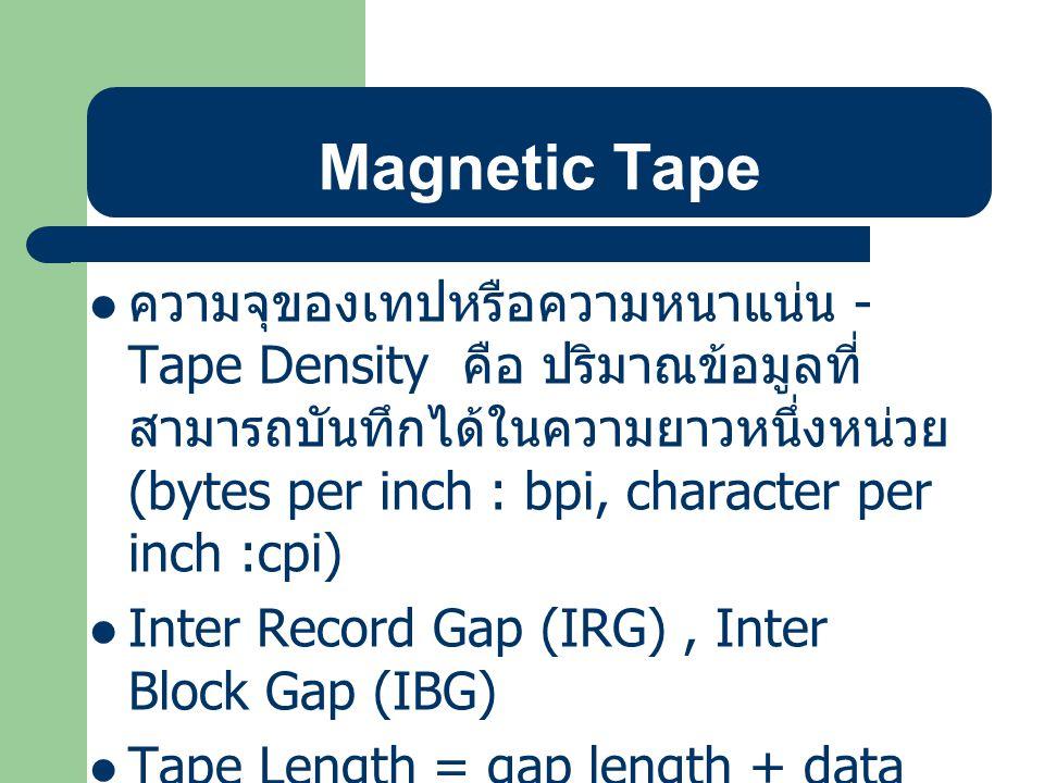 วิธีการเก็บระเบียนในเทป ความยาวต่อระเบียนคงที่ (Fixed Length Records) ความยาวต่อระเบียนไม่คงที่ (Variable Length Records)