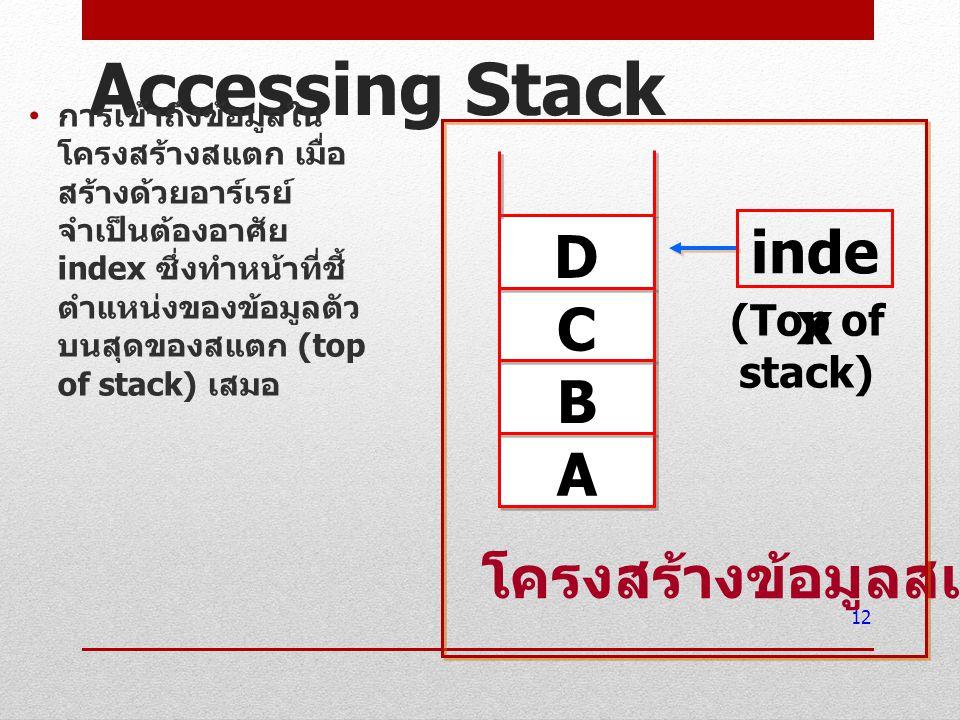 Accessing Stack การเข้าถึงข้อมูลใน โครงสร้างสแตก เมื่อ สร้างด้วยอาร์เรย์ จำเป็นต้องอาศัย index ซึ่งทำหน้าที่ชี้ ตำแหน่งของข้อมูลตัว บนสุดของสแตก (top
