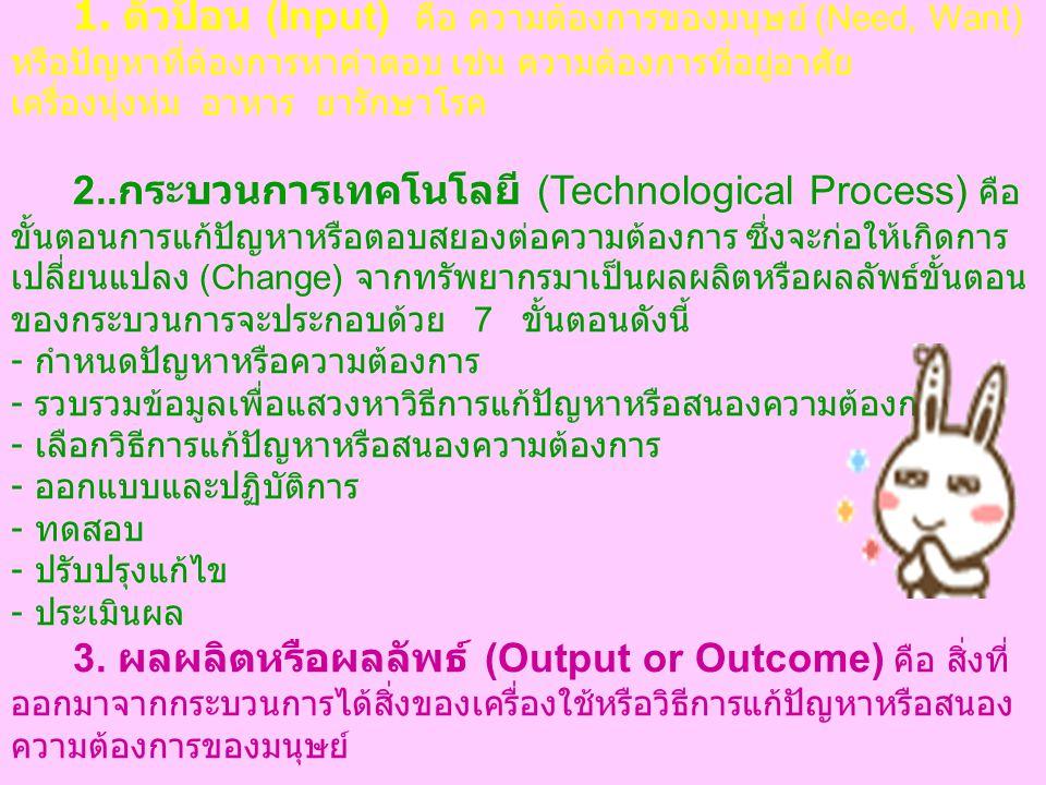 ระบบเทคโนโลยี เทคโนโลยีมีองค์ประกอบสำคัญ 5 ส่วน ซึ่งแต่ละ ส่วนมีความสัมพันธ์เกี่ยวข้องกันเรียกว่าระบบเทคโนโลยี (Technological System) ดังแสดงในแผนภาพ 1.