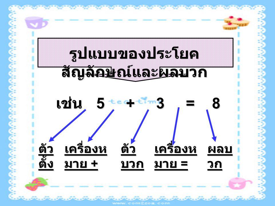 รูปแบบของประโยค สัญลักษณ์และผลบวก เช่น 5 + 3 = 8 ตัว ตั้ง เครื่องห มาย + ตัว บวก เครื่องห มาย = ผลบ วก