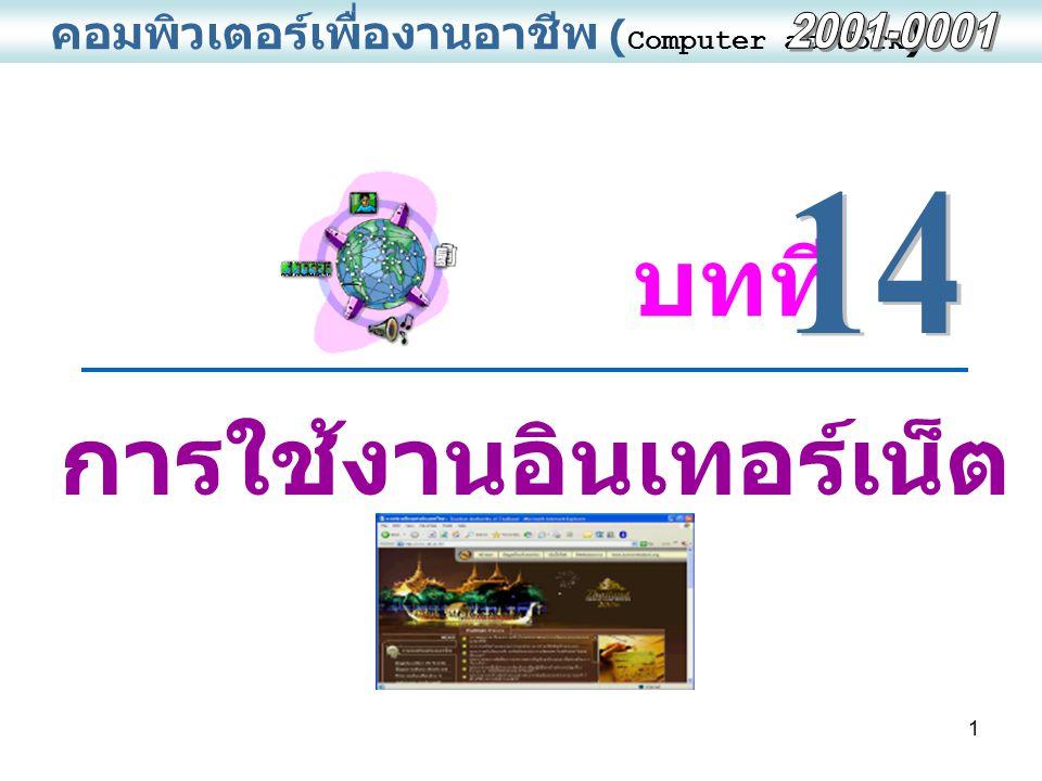 2 คอมพิวเตอร์เพื่องานอาชีพ ( Computer at Work ) อินเทอร์เน็ตคืออะไร อินเทอร์เน็ต มาจากคำว่า Inter Connection Network หรือ เรียกกันว่า ไซเบอร์สเปช (Cyber Space) แต่นิยมเรียกสั้น ๆ ว่า อินเทอร์เน็ต คือการนำคอมพิวเตอร์ มาเชื่อมต่อกันเป็นเครือข่ายเล็ก ๆ ภายในองค์กร ต่อมานำเครือข่ายย่อย ๆ มาเชื่อมต่อกัน จนเกิดเป็นเครือข่าย ขนาดใหญ่ ทำให้คอมพิวเตอร์ที่ เชื่อมต่อกันในระบบอินเทอร์เน็ต สามารถส่งข้อมูลไปมาหากันได้ รวดเร็ว