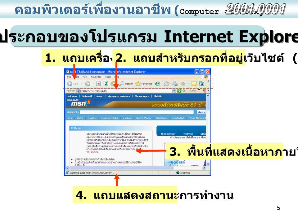 5 คอมพิวเตอร์เพื่องานอาชีพ ( Computer at Work ) ส่วนประกอบของโปรแกรม Internet Explorer 1. แถบเครื่องมือ 2. แถบสำหรับกรอกที่อยู่เว็บไซต์ (URL) 3. พื้นท