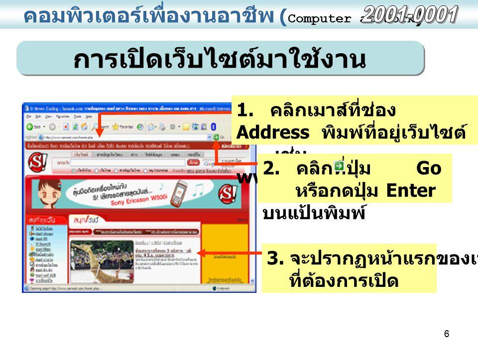 6 คอมพิวเตอร์เพื่องานอาชีพ ( Computer at Work ) การเปิดเว็บไซต์มาใช้งาน 1. คลิกเมาส์ที่ช่อง Address พิมพ์ที่อยู่เว็บไซต์ เช่น www.sanook.com 2. คลิกที