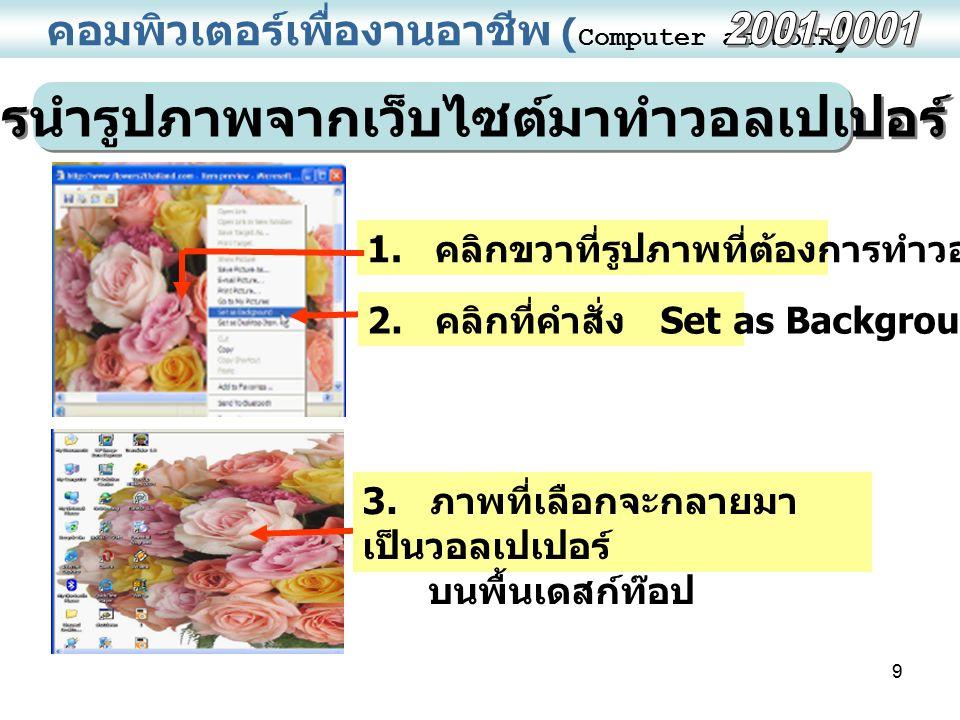 9 คอมพิวเตอร์เพื่องานอาชีพ ( Computer at Work ) การนำรูปภาพจากเว็บไซต์มาทำวอลเปเปอร์ 1. คลิกขวาที่รูปภาพที่ต้องการทำวอลเปเปอร์ 2. คลิกที่คำสั่ง Set as