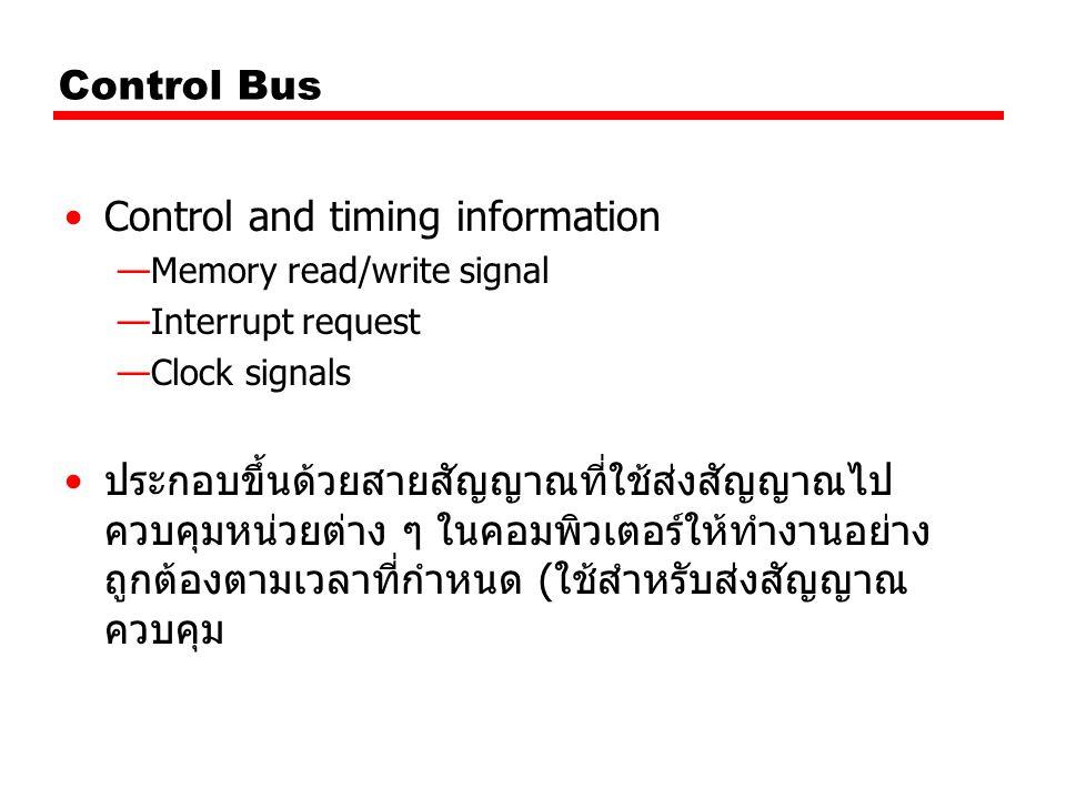Control Bus ตัวอย่างของสัญญาณ ควบคุม Memory Write เขียนข้อมูลที่อยู่ใน Data Bus ลงใน หน่วยความจำ ที่ระบุตำแหน่งโดย Address Bus Memory Read อ่านข้อมูลที่เก็บอยู่ในหน่วยความจำ ณ ตำแหน่ง ที่ระบุโดย Address Bus เข้ามาไว้ใน Data Bus I/O Write เขียนหรือส่งข้อมูลใน Data Bus ออกไปให้แก่ I/O Port ที่ระบุโดย Address Bus I/O Read อ่านข้อมูลจาก I/O port ที่ระบุโดย Address Bus มาไว้ใน Data Bus
