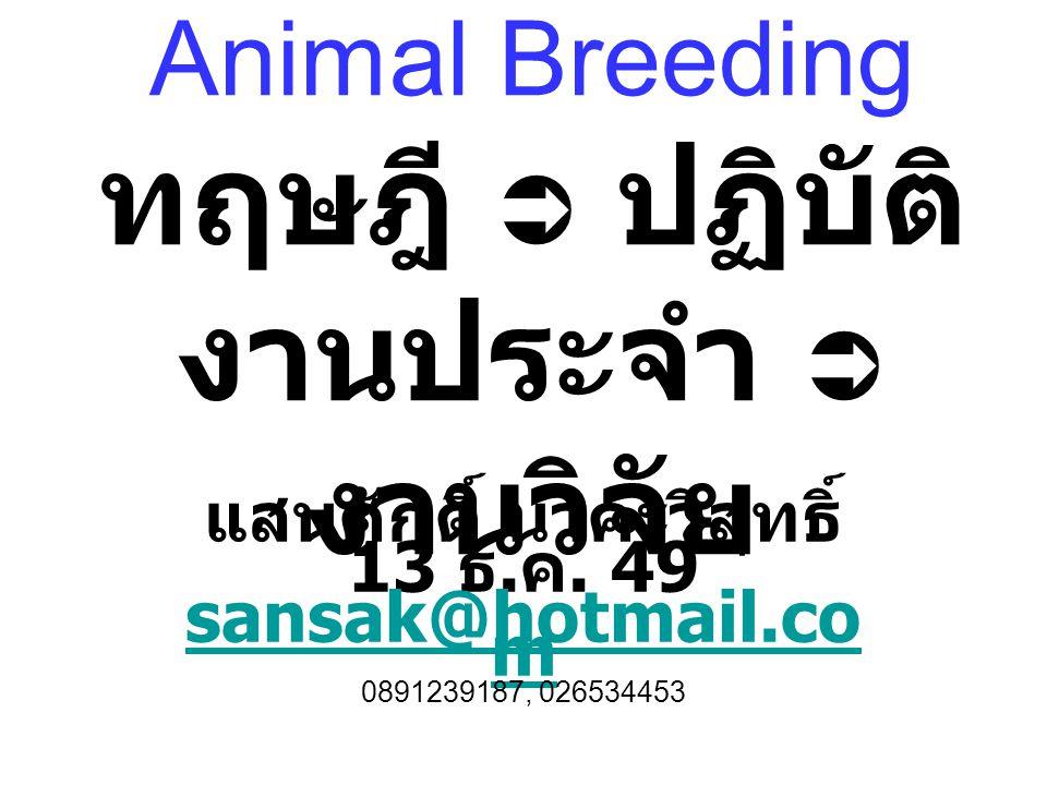 Animal Breeding ทฤษฎี  ปฏิบัติ งานประจำ  งานวิจัย แสนศักดิ์ นาคะวิสุทธิ์ 13 ธ.
