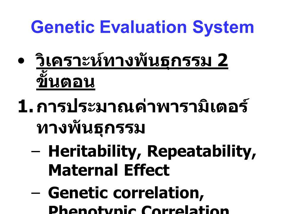 Genetic Evaluation System วิเคราะห์ทางพันธุกรรม 2 ขั้นตอน 1.