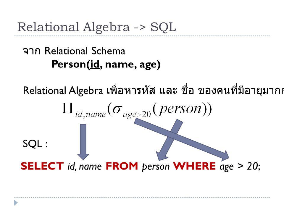 Relational Algebra -> SQL จาก Relational Schema Person(id, name, age) Relational Algebra เพื่อหารหัส และ ชื่อ ของคนที่มีอายุมากกว่า 20 SQL : SELECT id