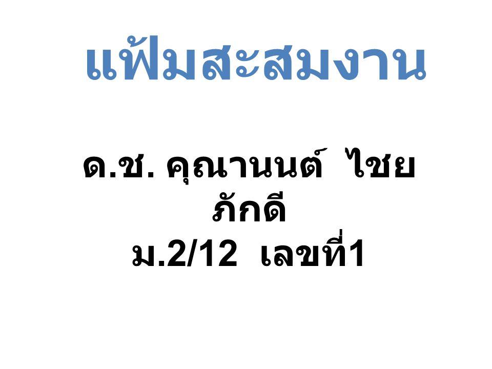 ด. ช. คุณานนต์ ไชย ภักดี ม.2/12 เลขที่ 1 แฟ้มสะสมงาน
