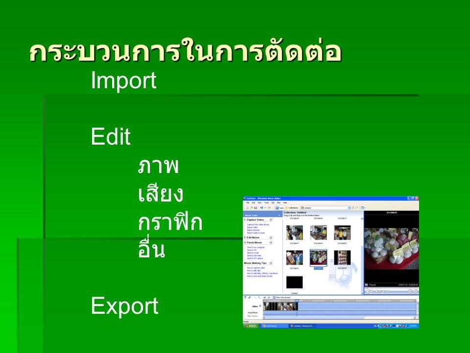 กระบวนการในการตัดต่อ Import Edit ภาพ เสียง กราฟิก อื่น Export