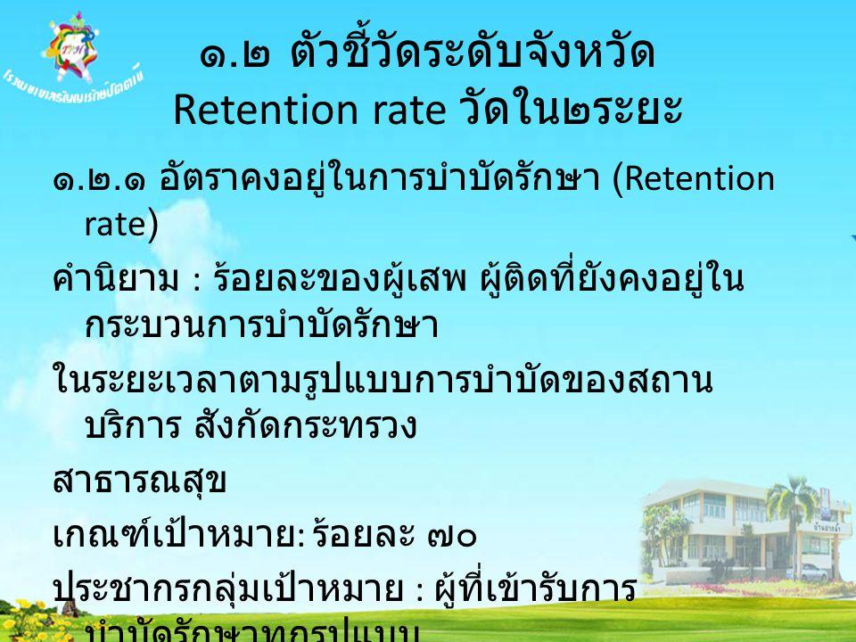 ๑. ๒ ตัวชี้วัดระดับจังหวัด Retention rate วัดใน๒ระยะ ๑. ๒. ๑ อัตราคงอยู่ในการบำบัดรักษา (Retention rate) คำนิยาม : ร้อยละของผู้เสพ ผู้ติดที่ยังคงอยู่ใ