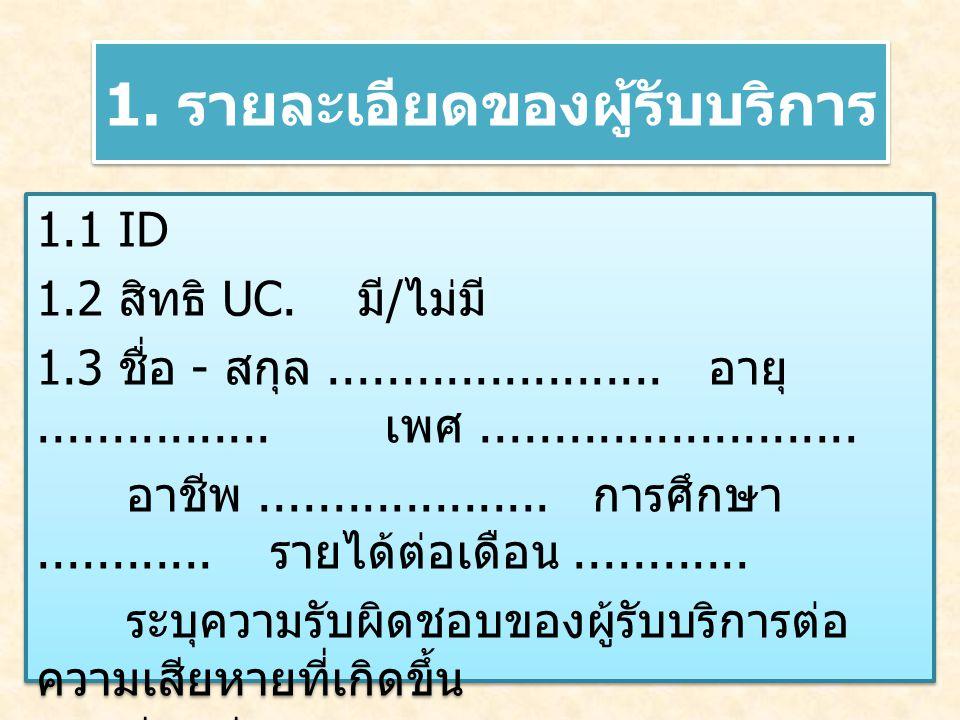 1.รายละเอียดของผู้รับบริการ 1.1 ID 1.2 สิทธิ UC. มี / ไม่มี 1.3 ชื่อ - สกุล.......................