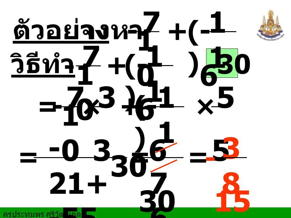 ครูประทุมพร ศรีวัฒนกูล ตัวอย่าง จงหา = = วิธีทำ + 30 7 10101 6 × = + 7 1010 1 6 + 7 10101 6 3 3 - 21+ -55 30 -76-76 - - - × 5 5 (- ) = 3838 15 -