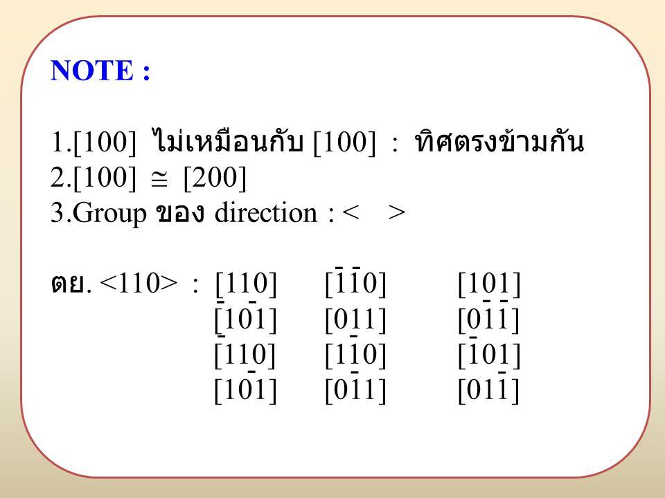 NOTE : 1.[100] ไม่เหมือนกับ [100] : ทิศตรงข้ามกัน 2.[100]  [200] 3.Group ของ direction : ตย.