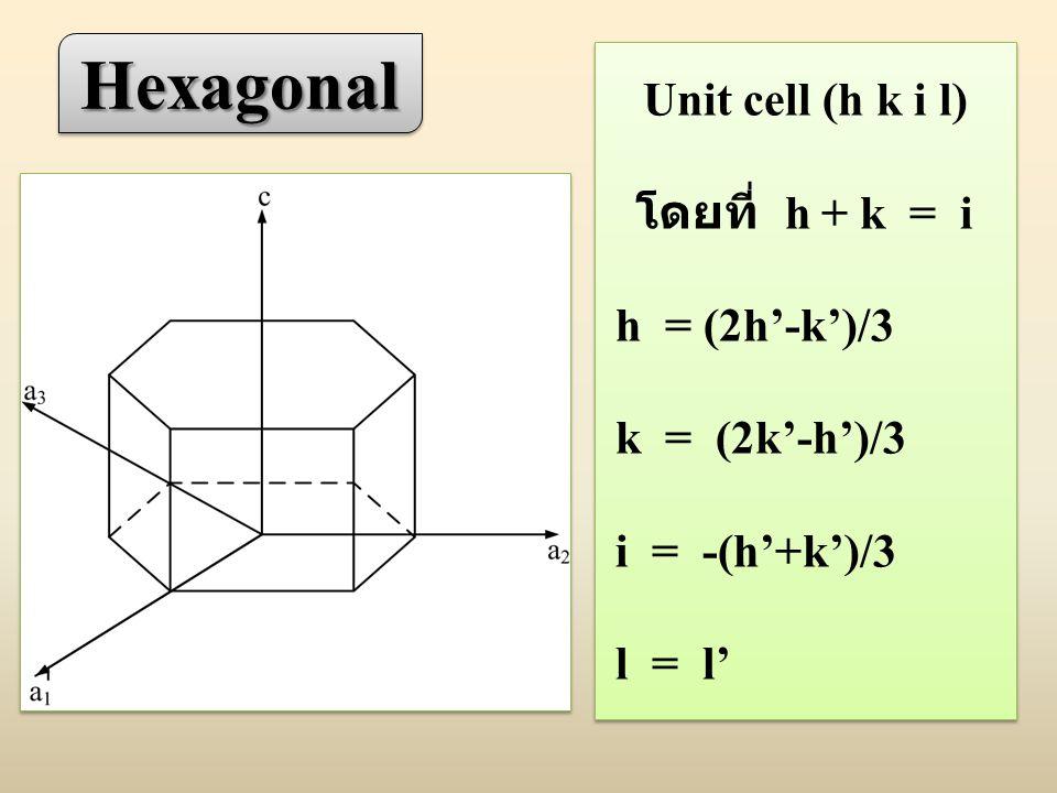 HexagonalHexagonal Unit cell (h k i l) โดยที่ h + k = i h = (2h'-k')/3 k = (2k'-h')/3 i = -(h'+k')/3 l = l' Unit cell (h k i l) โดยที่ h + k = i h = (2h'-k')/3 k = (2k'-h')/3 i = -(h'+k')/3 l = l'