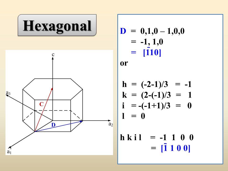 D = 0,1,0 – 1,0,0 = -1, 1,0 = [110] or h = (-2-1)/3 = -1 k = (2-(-1)/3 = 1 i = -(-1+1)/3 = 0 l = 0 h k i l = -1 1 0 0 = [1 1 0 0] - - HexagonalHexagonal