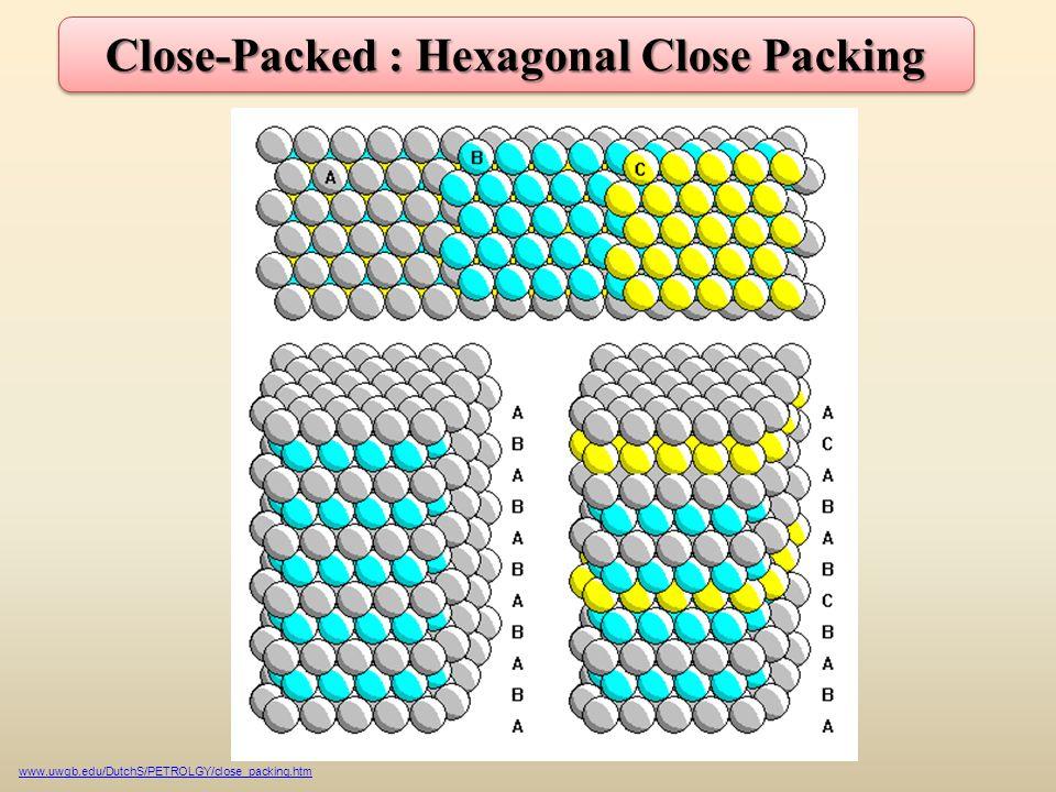 Close-Packed : Hexagonal Close Packing www.uwgb.edu/DutchS/PETROLGY/close_packing.htm