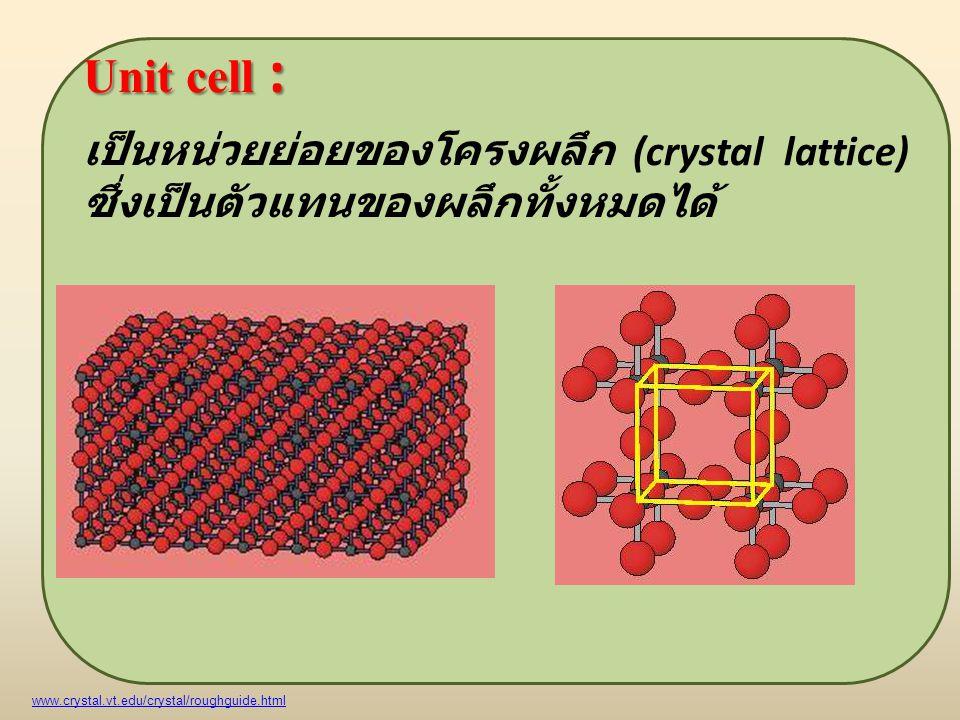 Unit cell : เป็นหน่วยย่อยของโครงผลึก (crystal lattice) ซึ่งเป็นตัวแทนของผลึกทั้งหมดได้ www.crystal.vt.edu/crystal/roughguide.html