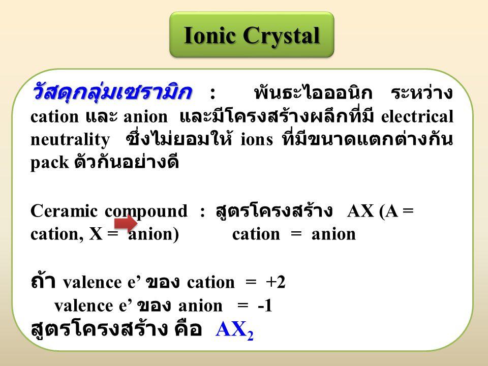 Ionic Crystal วัสดุกลุ่มเซรามิก วัสดุกลุ่มเซรามิก : พันธะไอออนิก ระหว่าง cation และ anion และมีโครงสร้างผลึกที่มี electrical neutrality ซึ่งไม่ยอมให้ ions ที่มีขนาดแตกต่างกัน pack ตัวกันอย่างดี Ceramic compound : สูตรโครงสร้าง AX (A = cation, X = anion) cation = anion ถ้า valence e' ของ cation = +2 valence e' ของ anion = -1 สูตรโครงสร้าง คือ AX 2