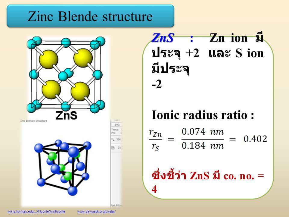 Zinc Blende structure wikis.lib.ncsu.edu/.../Fluorite/Antifluorite www.dawgsdk.org/crystal/ ZnS ZnS : Zn ion มี ประจุ +2 และ S ion มีประจุ -2 Ionic radius ratio : ซึ่งชี้ว่า ZnS มี co.